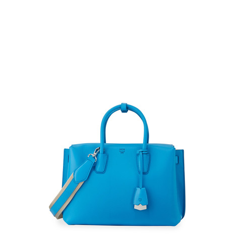 MCM Milla Medium Leather Tote Bag, Tile Blue