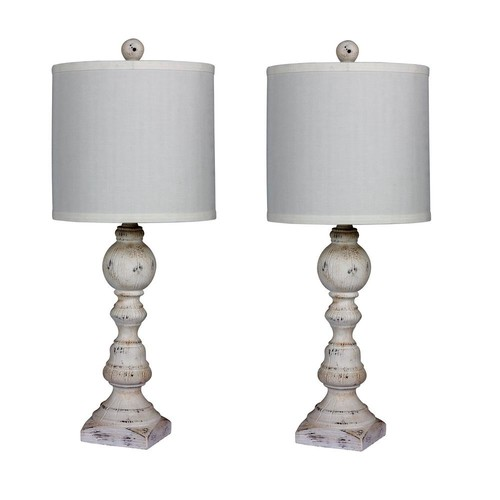Fangio Lighting Pair of 26 in. Distressed Balustrade Resin Table Lamps in a Cottage Antique White
