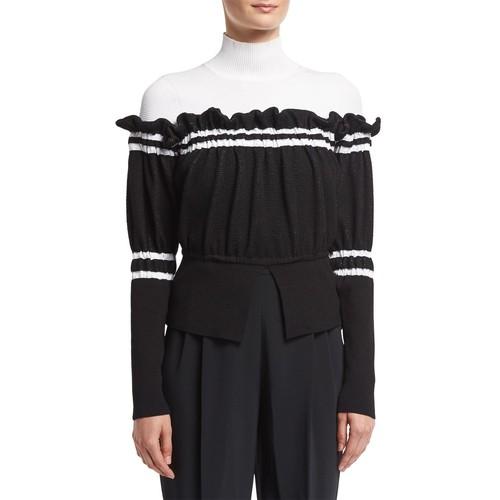3.1 PHILLIP LIM Turtleneck Combo Pullover Sweater W/ Ruffled Trim, Black/White