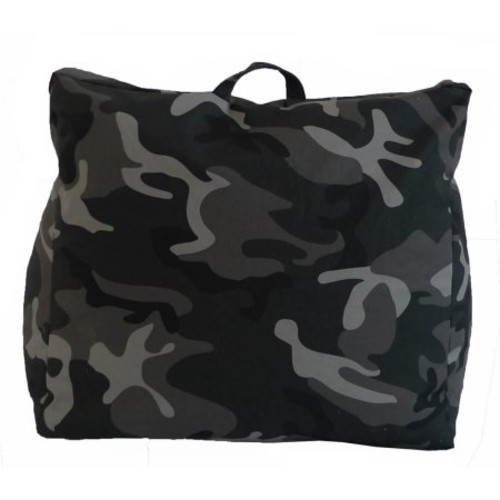 Charcoal Camouflage Cotton Canvas Structured Bean Bag