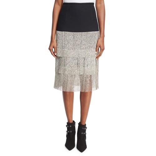 MICHAEL KORS COLLECTION Layered Chain-Fringe Skirt, Black