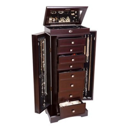 Mele & Co. Olympia Wooden Jewelry Armoire in Dark Walnut Finish