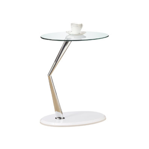 Monarch Specialties Accent Table with Tempered Glass, Glossy White/Chrome