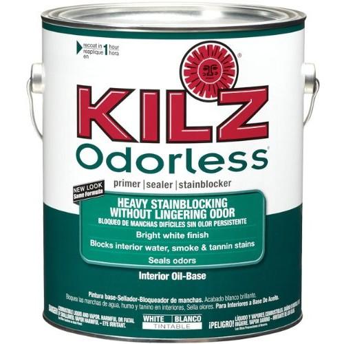 KILZ Odorless Interior Oil-Base Primer/Sealer/Stainblocker, White, 1-gallon [1 Gallon]