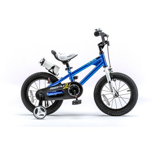 Royalbaby 14 in. Wheels Freestyle BMX Kid's Bike, Boy's Bikes and Girl's Bikes with Training Wheels in Blue