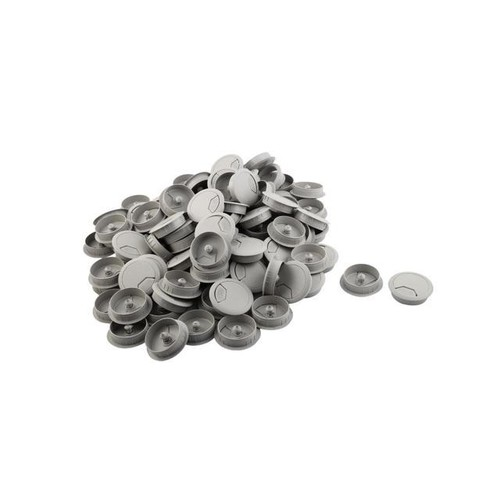 Home Computer Desk Plastic Round Grommet Wire Cable Hole Cover Light Gray 100pcs