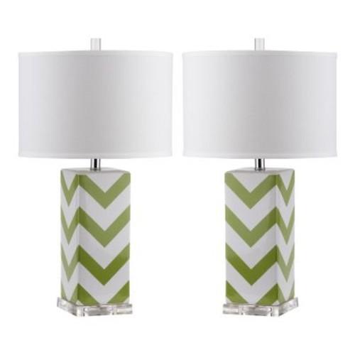 Safavieh Chevron 27 in. Green Stripe Table Lamp (Set of 2)
