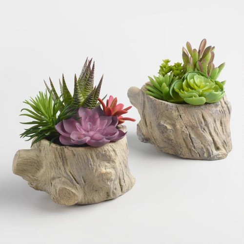 Faux Succulents on Logs Set of 2