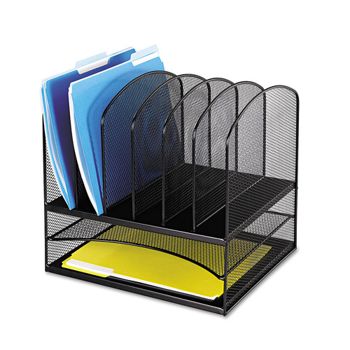 Safco Products 3255BL Onyx Mesh Desktop Organizer with 6 Vertical/ 2 Horizontal Sections, Black [Black]