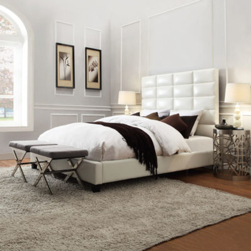 Home Creek Amara Bonded-Leather Upholstered Bed [Select A color : White]