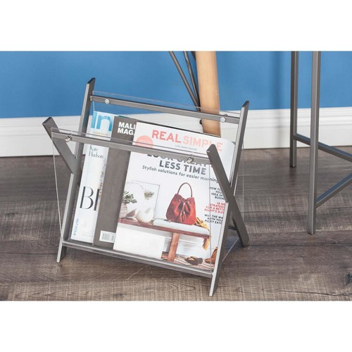 X-Frame Silver-Finished Iron and Clear Acrylic Magazine Holder