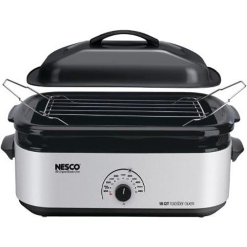 Nesco 18-Quart Porcelain Roaster Oven, Silver