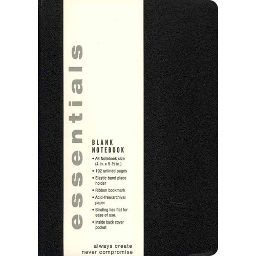 Essentials Black Small Blank Notebook