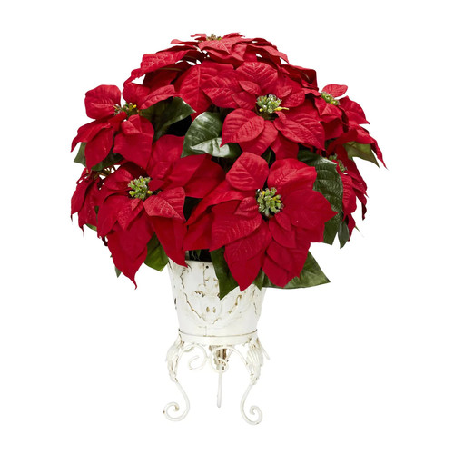 Nearly Natural 1267 Poinsettia Permanent Flower, Red