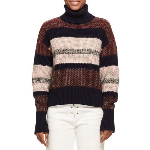 CHLOE Knit Tweed Turtleneck Sweater, Red Pattern