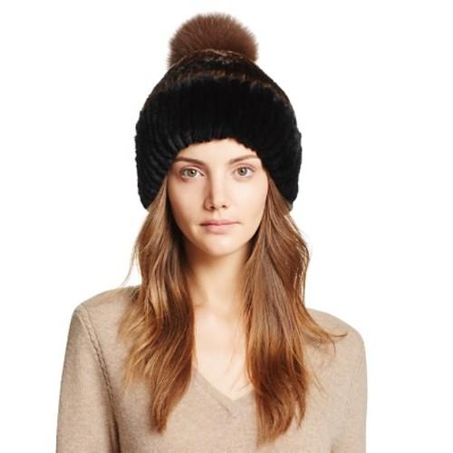 Fox Fur Pompom Knit Rabbit Fur Hat - 100% Exclusive