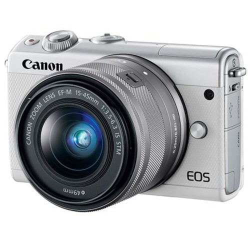 Canon EOS M100 Mirrorless with 15-45mm STM Lens White W/Premium Accessory Bundle