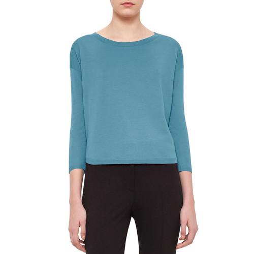 AKRIS PUNTO Bateau-Neck Bracelet-Sleeve Sweater, Turquoise