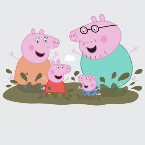 RoomMates 5 in. W x 19 in. H Peppa the Pig - Family Muddy Puddles 14-Piece Peel and Stick Giant Wall Decal