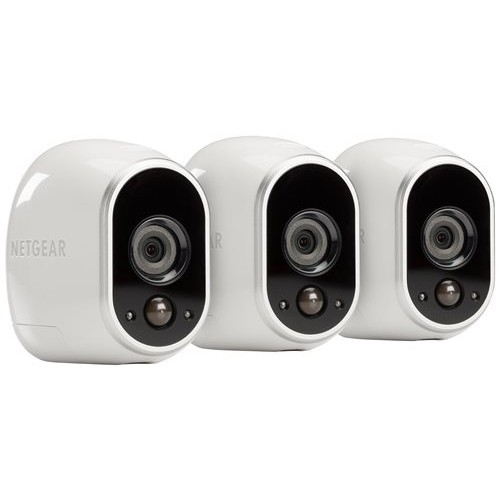 NetGear Arlo Security System - 3 Wire-Free HD Cameras, Indoor/Outdoor, Night Vision (VMS3330-100NAS)