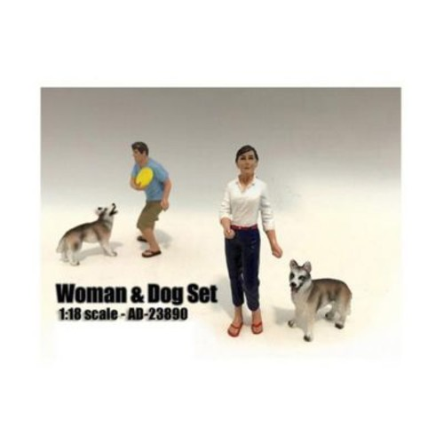 American Diorama Woman & Dog 2 Piece Figure Set For 1-18 Scale Models (Dtdp2373)