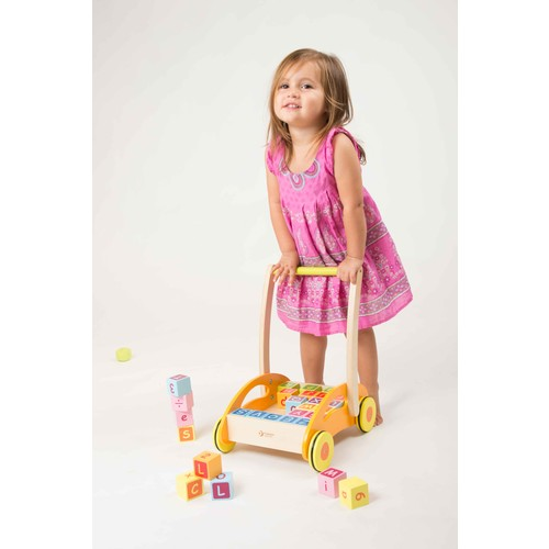 Classic Toy Wood Baby Walker w/Blocks