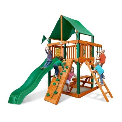Gorilla Playsets Chateau Tower with Timber Shield and Deluxe Green Vinyl Canopy