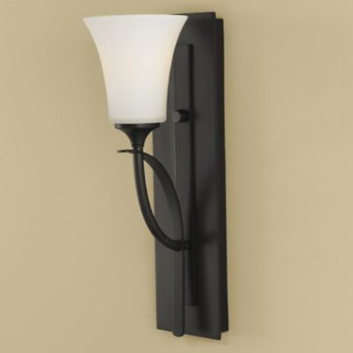 Feiss Barrington Wall-Mount Vanity in Oil Rubbed Bronze with Opal Etched Glass Shade