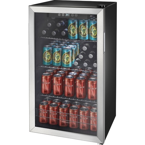 Insignia - 115-Can Beverage Cooler - Stainless steel/Silver