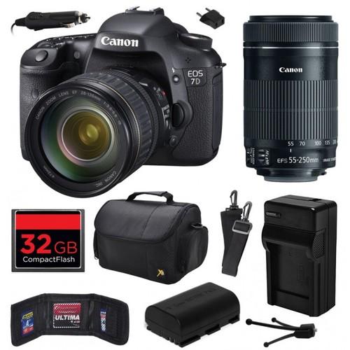 Canon EOS 7D SLR Camera with 28-135mm + 55-250mm STM Lens (32GB Value Bundle)