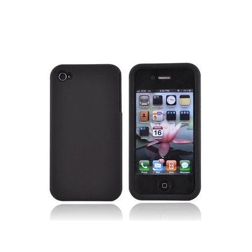 For Apple Iphone 4 Silicone Case Rubberized Back Black