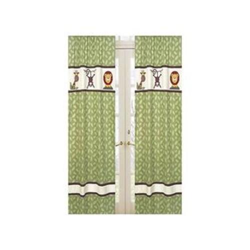 Sweet Jojo Designs Jungle Time Green Leaf Print Window Treatment Panels By Sweet Jojo Designs - Set Of 2