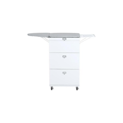 Home Decorators Collection Becker White/Grey 2-Drawer Ironing Board Cart with Wheels