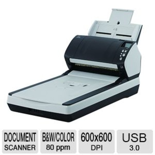 Fujitsu fi-7280 PA03670-B505 Document scanner - Duplex, 8.5 in x 14 in, 600 dpi x 600 dpi, up to 80 ppm (mono) / up to 80 ppm (color), ADF (80 sheets), up to 6000 scans per day, USB 3.0