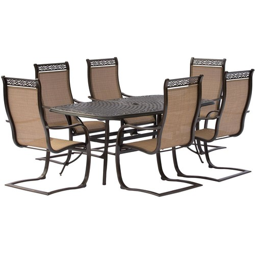 Hanover Manor 7-Piece Aluminum Rectangular Outdoor Dining Set with Spring Sling Chairs and Cast-Top Table