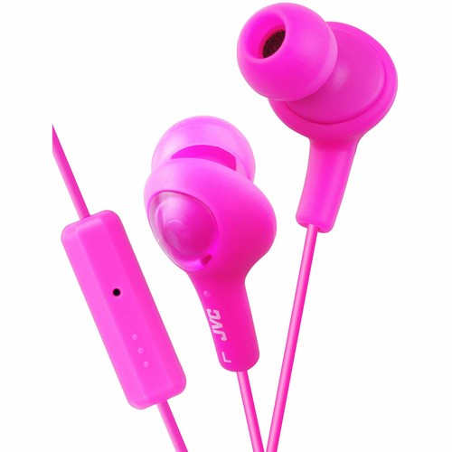 JVC Kenwood HAFR6P Gumy PLUS Headphones with Remote and Mic - Punch Pink HAFR6