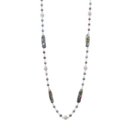 Stephen Dweck - 7mm-15mm Round Baroque Freshwater Pearl and Sterling Silver Strand Necklace