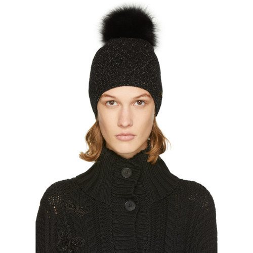 YVES SALOMON Black & Gold Sparkle Fur Pom Pom Beanie