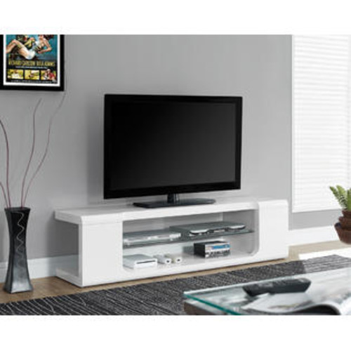 Monarch High Glossy White 60 Inch Length Tv Console With Tempered Glass I 3535