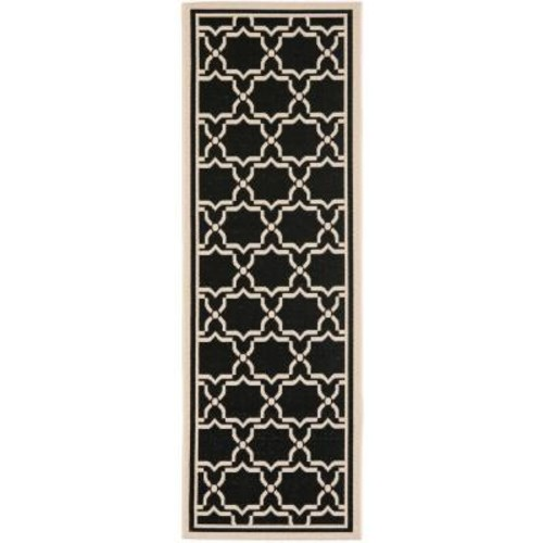 Safavieh Courtyard Black/Beige 2 ft. 4 in. x 14 ft. Indoor/Outdoor Runner