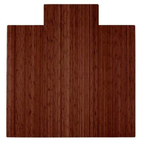 Anji Mountain Walnut 55 in. x 57 in. Bamboo Roll-Up Chair Mat with Lip