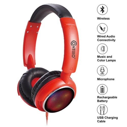 Contixo KB-300 Kid Safe 85DB Red Wireless Bluetooth LED Headphone with Volume Limiter, Microphone, Micro SD, and FM Radio