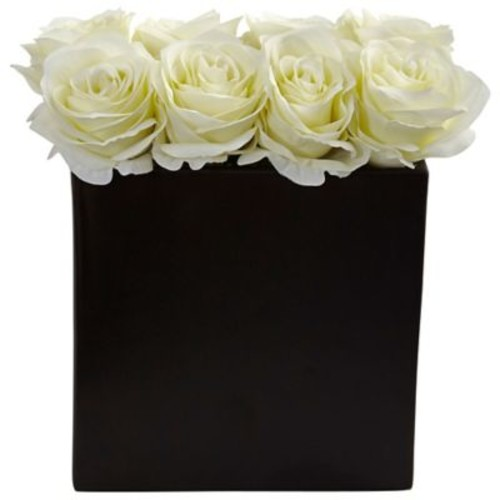 Nearly Natural Roses Arrangement in Black Vase (1510-WH)