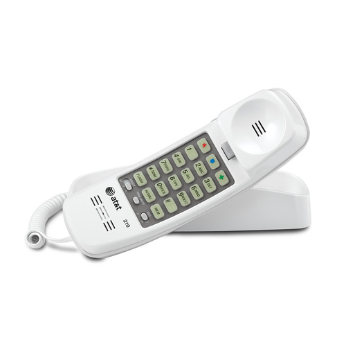AT&T 210 Corded Trimline Phone with Speed Dial and memory Buttons - White