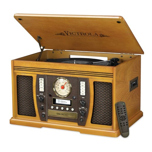 Victrola 7-in-1 Bluetooth Wooden Music Center in Oak