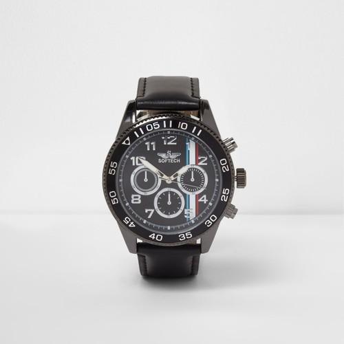 Black faux leather stripe face bezel watch