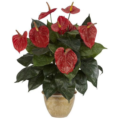 Nearly Natural 22.5 in. H Red Anthurium with Ceramic Vase Silk Plant