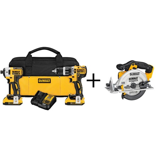 DEWALT 20-Volt MAX XR Lithium-Ion Cordless Brushless Combo Kit (2-Tool) with (2) Batteries 2Ah, Charger and Bonus Circular Saw