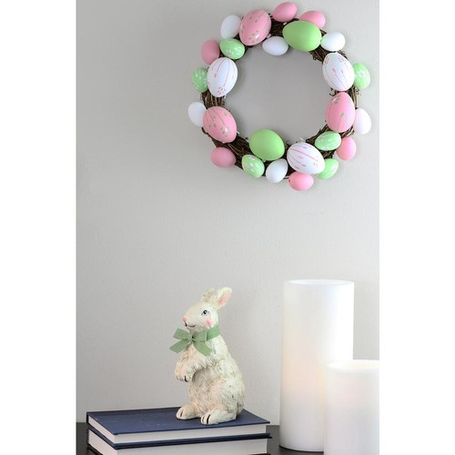 Northlight Grapevine 10 in. Pastel Pink, Green and White Floral Stem Easter Egg Spring Wreath