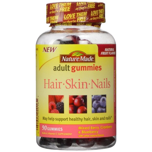 Nature Made Hair-Skin-Nails Adult Gummies, 1mg, Mixed Berry, Cranberry & Blueberry, 90 Count